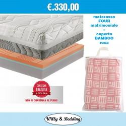 Four Matrimoniale 160x190 + Coperta Matrimoniale in Viscosa/Bamboo Rosa