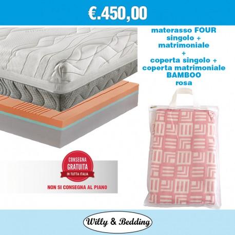 1 Four Matrimoniale 160x190 + 1 Four Singolo 80x190 + 2 Coperte in Viscosa/Bamboo Rosa